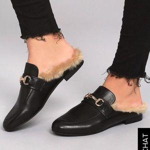 Steve Madden Slip on Fur loafer mules